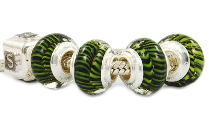ZANFIRICO STERLING SILVER MURANO GLASS BEAD GREEN