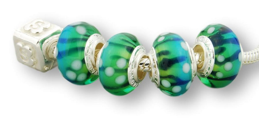 AQUAMARINE STERLING SILVER MURANO GLASS BEAD SEAWEED