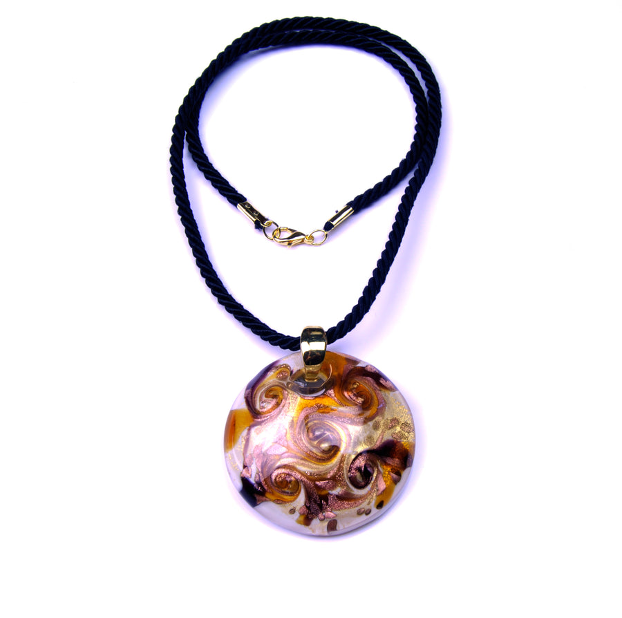 MURANO GLASS NECKLACE IN CURVED SHAPE - GOLD