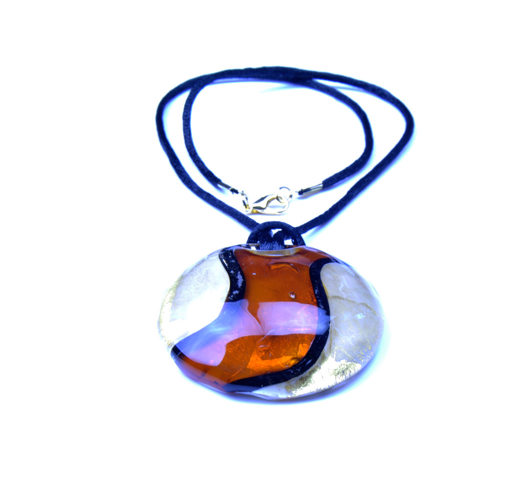 MURANO NECKLACE FANTASY COLOURS IN ROUND SHAPE - BROWN