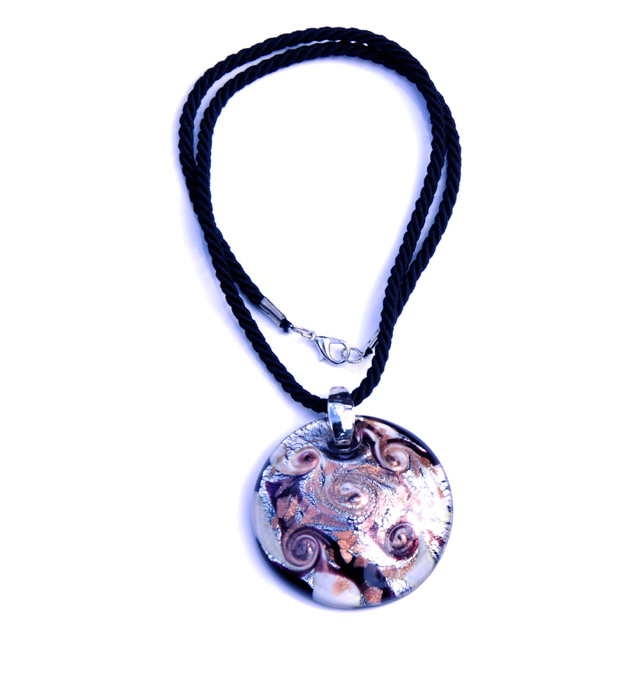 MURANO GLASS NECKLACE IN CURVED SHAPE - SILVER