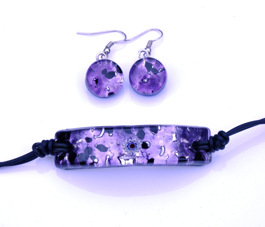 MURANO GLASS 2 PIECE JEWELRY SET PURPLE