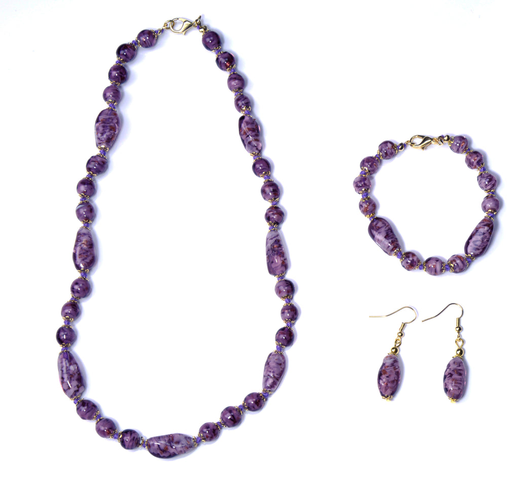 Aly Murano Glass Jewelry Set - Amethyst