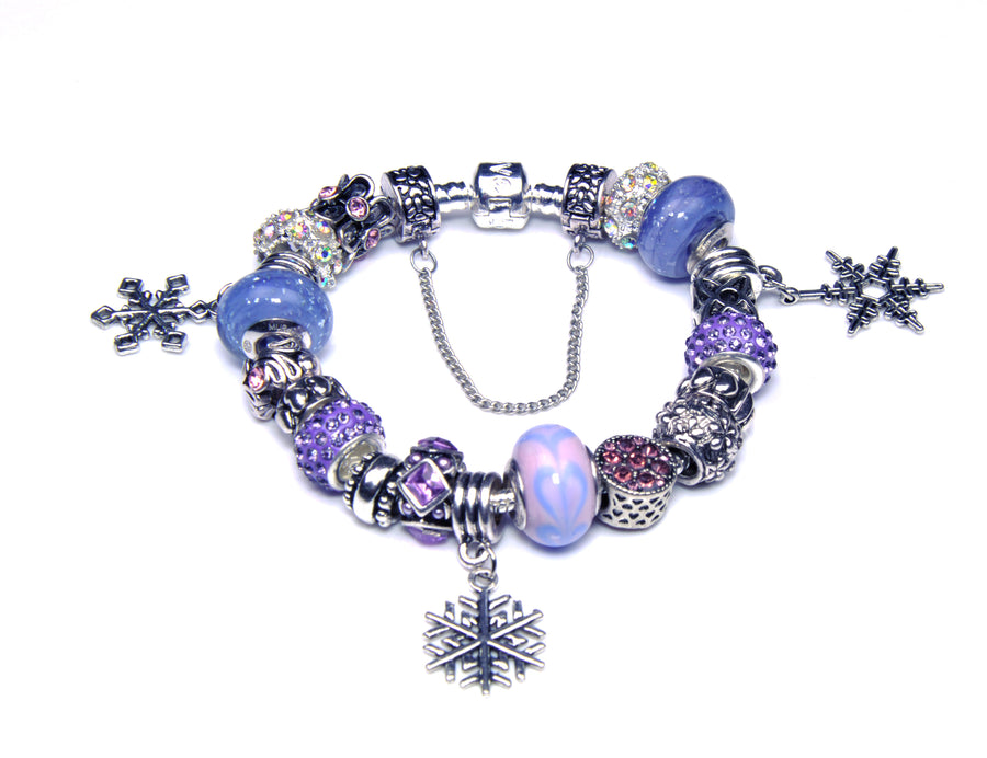 Pandora Style Bracelet with Sterling Silver Murano Glass Charms - Purple Snowflake