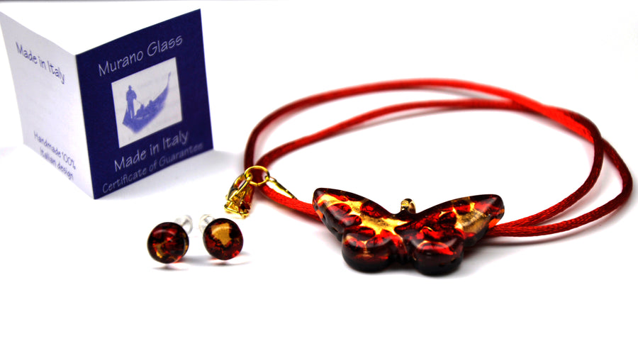 MURANO GLASS 2 PIECE JEWELRY SET RED BUTTERFLY