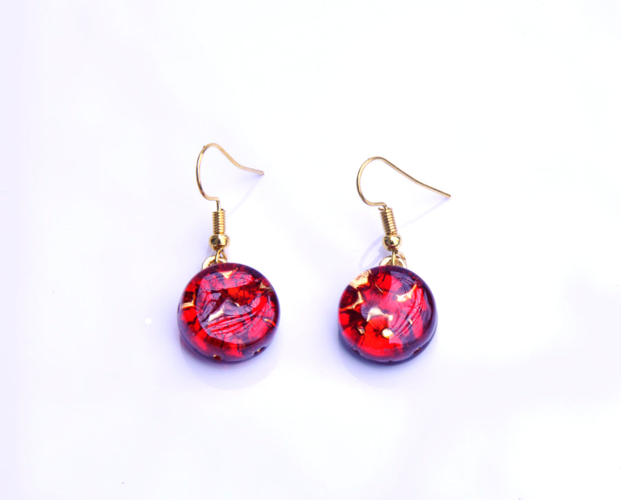VENETIAN GLASS EARRINGS - RED GOLD