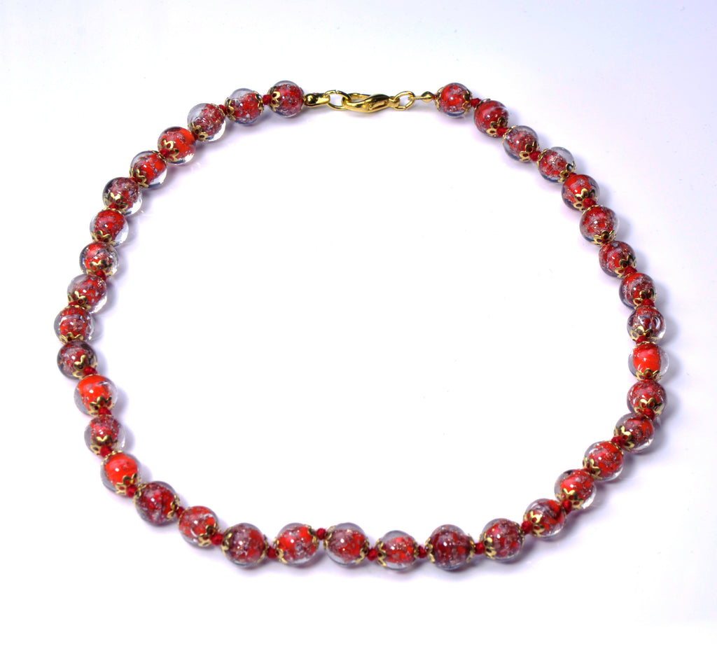 ALTA MURANO BEAD NECKLACE RED 45 CM/17.5""