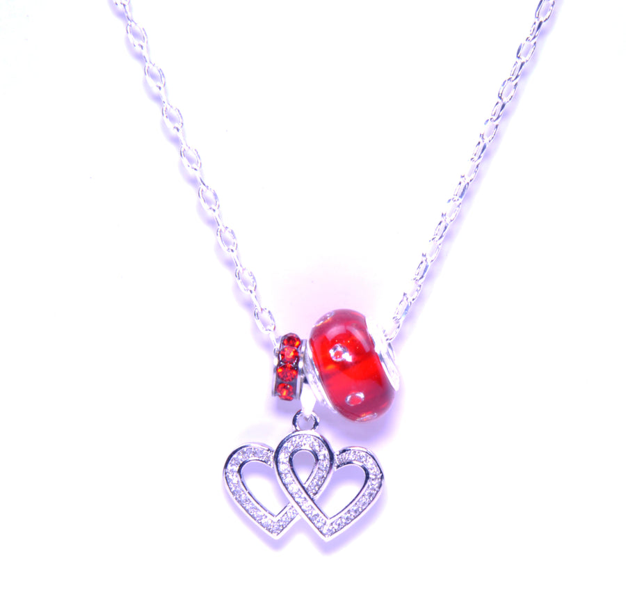 Murano Glass Pendant with Sterling Silver Pandora Style Charm with Zirconium - Heart-to-Heart Red
