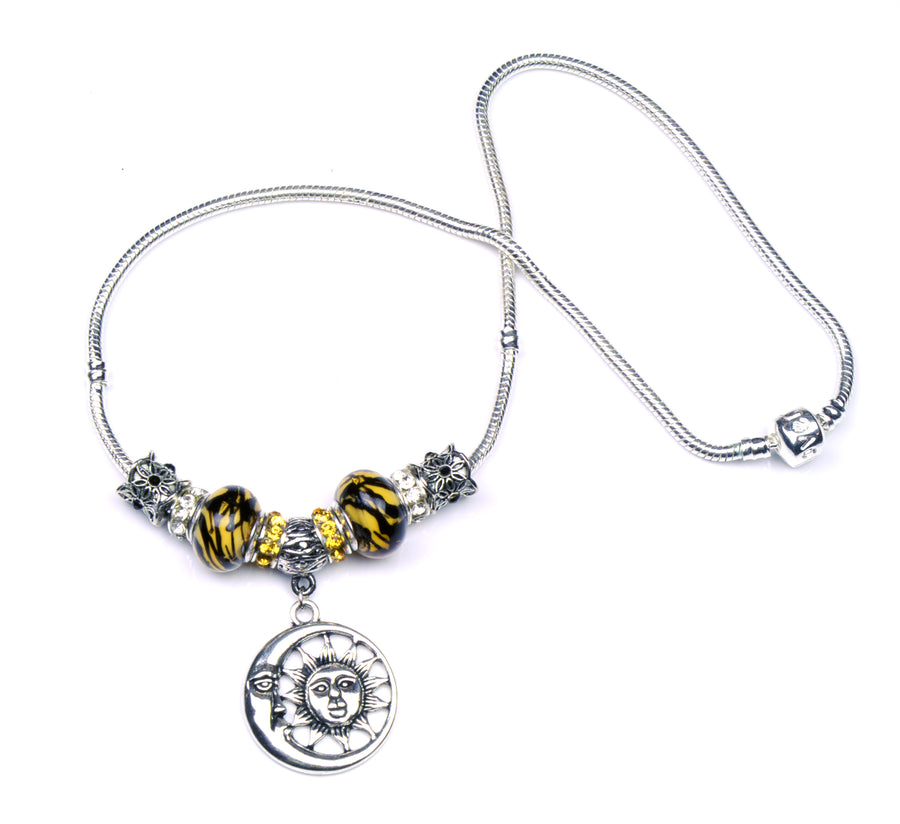 Pandora Style Murano Glass Necklace - Yellow Sun