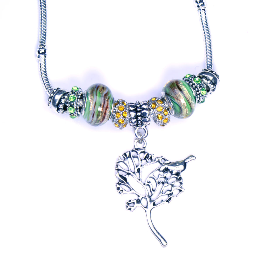 Pandora Style Murano Glass Necklace - Green Tree
