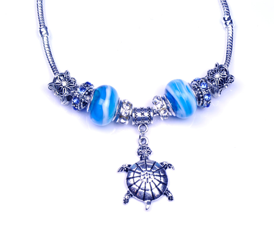 Pandora Style Murano Glass Necklace - Light Blue Turtle