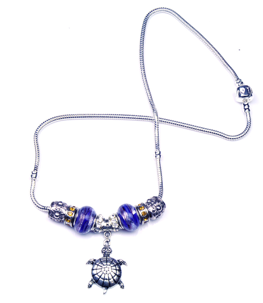 Pandora Style Murano Glass Necklace - Blue Turtle