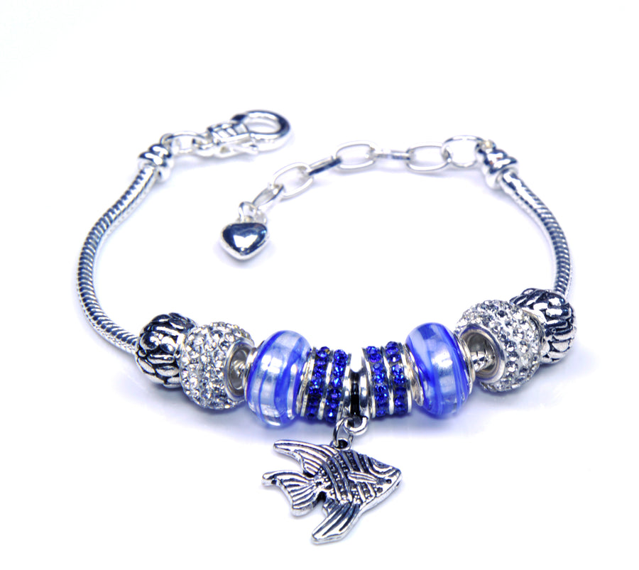 Italian Sterling Silver Murano Glass Charms with Bracelet (Pandora Style) - Blue Fish
