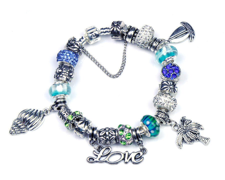 Pandora Style Bracelet with Sterling Silver Murano Glass Charms - LoveBeach Azure