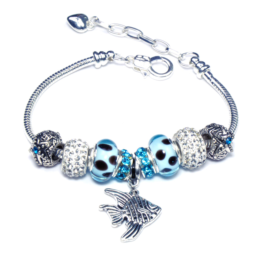 Pandora Style Sterling Silver Murano Glass Charms with European Style Bracelet - Joy Fish