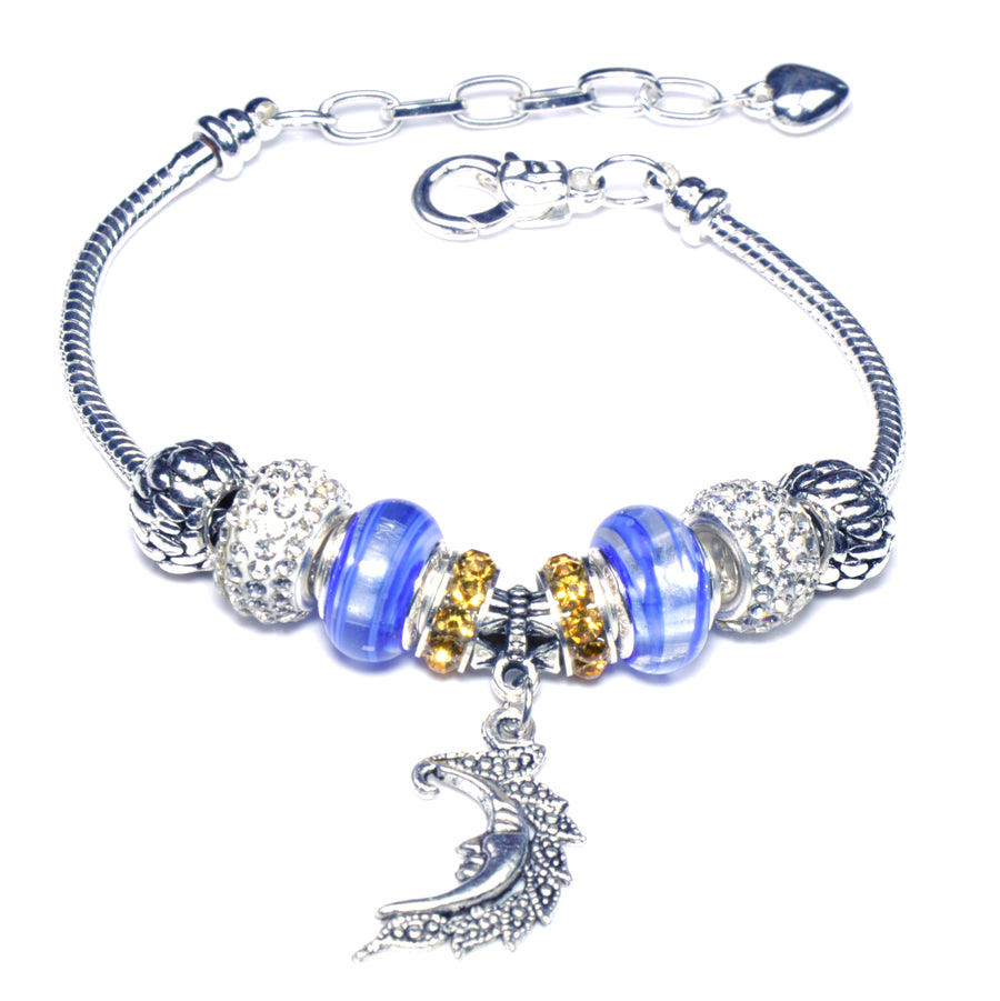 Pandora Style Sterling Silver Murano Glass Charms with European Style Bracelet - Blue Moon