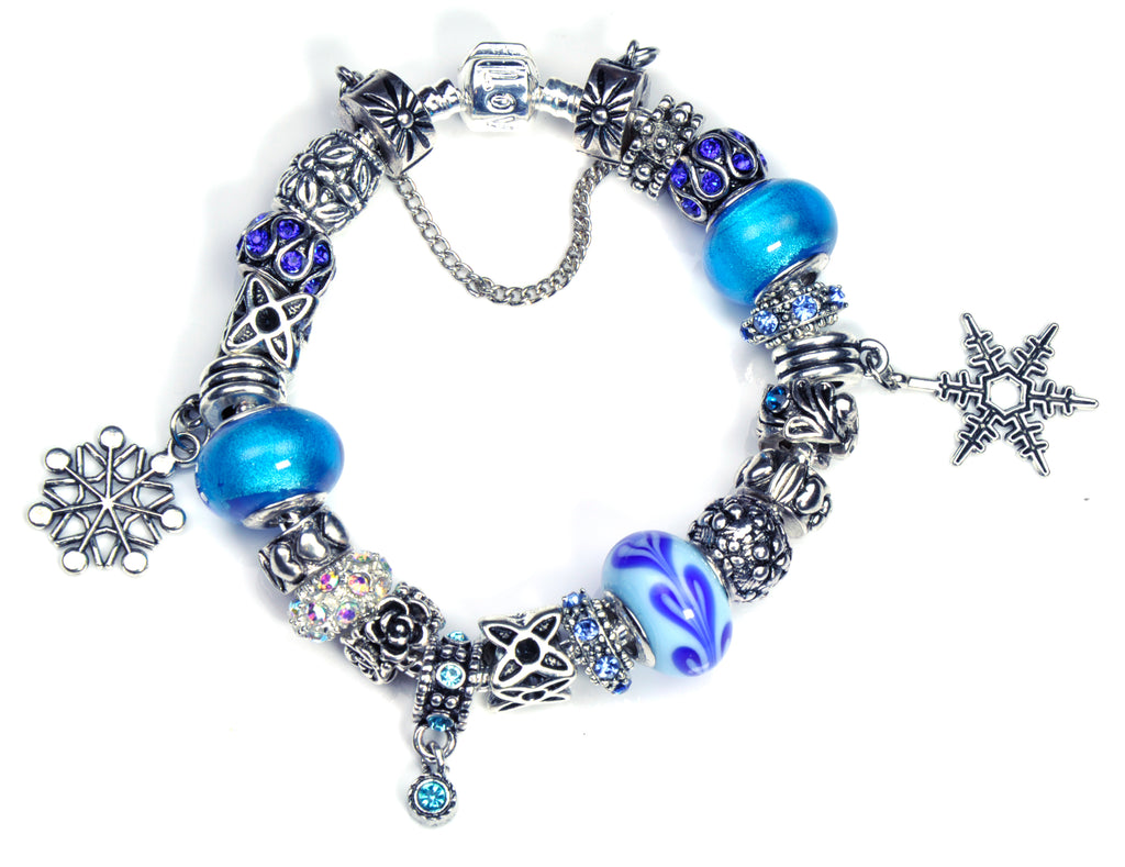 Pandora Style Bracelet with Sterling Silver Murano Glass Charms - Blue Snowflake