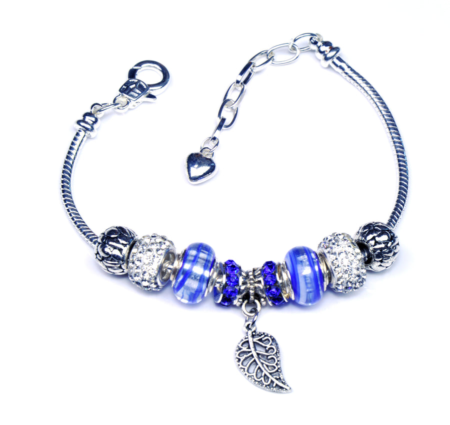 Italian Sterling Silver Murano Glass Charms with Bracelet (Pandora Style) - Blue Leaf