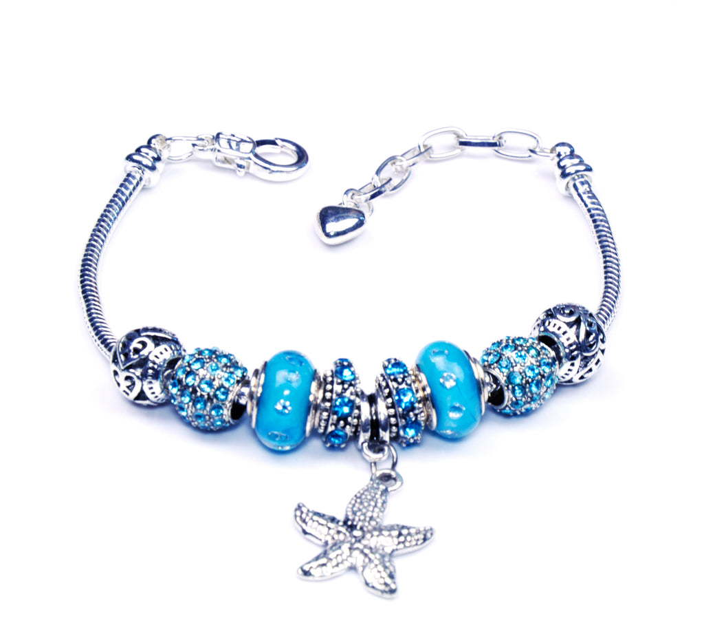 Italian Sterling Silver Murano Glass Charms with Bracelet (Pandora Style) - Blue Starfish
