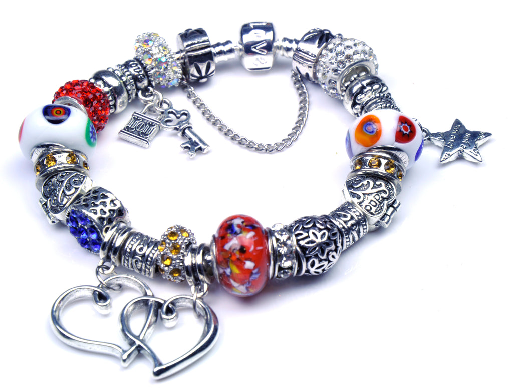 Pandora Style Bracelet with Sterling Silver Murano Glass Charms - Friendship Heart