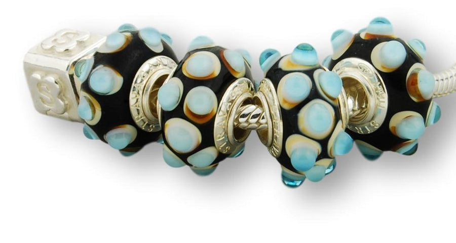 TURQUOISE BUMPS STERLING SILVER MURANO GLASS BEAD BLACK ONYX
