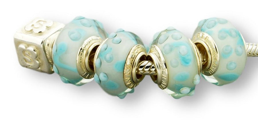 OCEAN PATTERN STERLING SILVER MURANO GLASS BEAD TURQUOISE