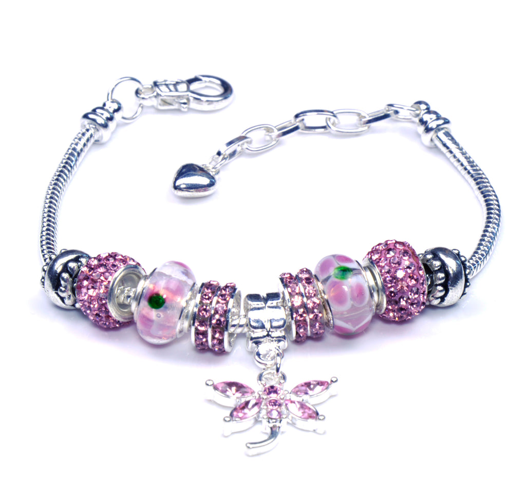 Italian Sterling Silver Murano Glass Charms with Bracelet (Pandora Style) - Pink Dragonfly