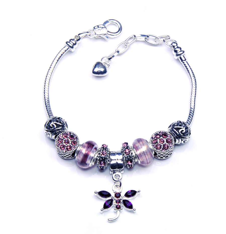 Italian Sterling Silver Murano Glass Charms with Bracelet (Pandora Style) -Purple Dragonfly