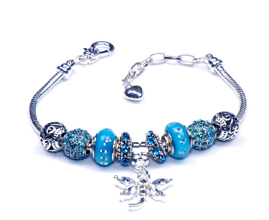 Italian Sterling Silver Murano Glass Charms with Bracelet (Pandora Style) - Blue Dragonfly