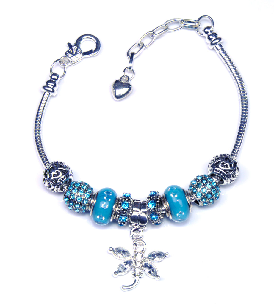 0020e89fe Italian Sterling Silver Murano Glass Charms with Bracelet (Pandora Style) - Blue  Dragonfly. Next