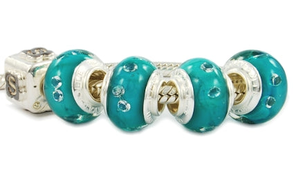 ZIRCONIA STERLING SILVER MURANO GLASS BEAD EMERALD BLUE