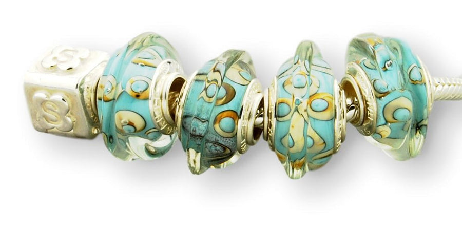 TURQUOISE STERLING SILVER MURANO GLASS BEAD OCEAN SHELL
