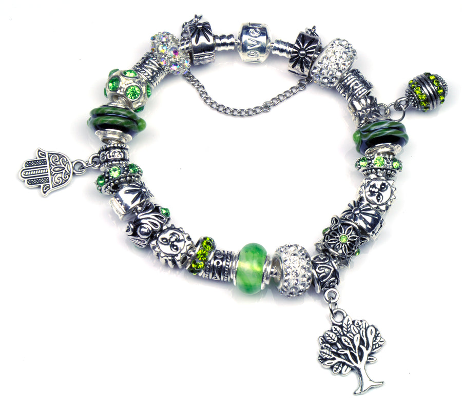 Pandora Style Murano Glass Bracelet - Tree of Life