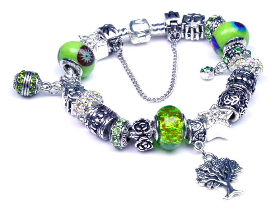 Pandora Style Bracelet with Sterling Silver Murano Glass Charms - Green Tree-of-Life