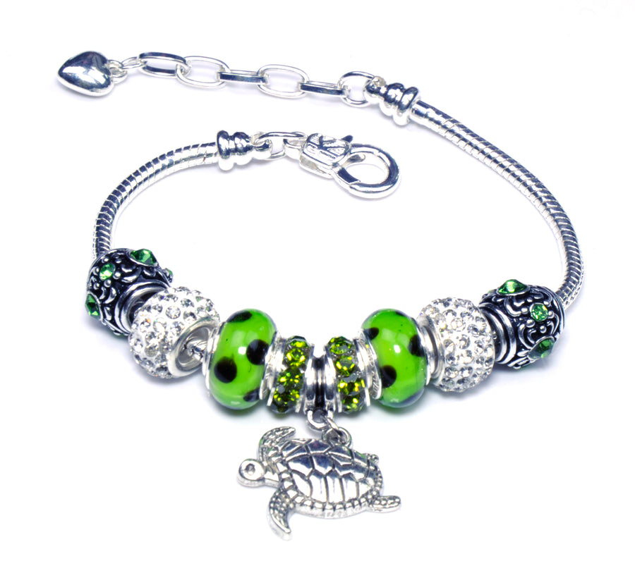 Pandora Style Sterling Silver Murano Glass Charms with European Style Bracelet - Insistent Turtle Green
