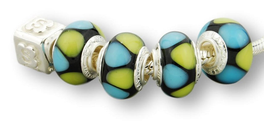 TURQUOISE STERLING SILVER MURANO GLASS BEAD ONYX BLACK