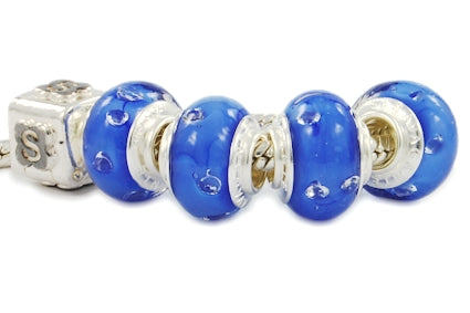 ZIRCONIA STERLING SILVER MURANO GLASS BEAD DARK BLUE