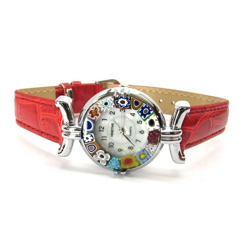 Murano Millefiori Watch - Red
