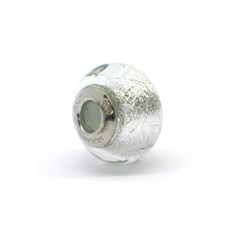 Italian Sterling Silver Ice Crysta Murano Glass Charm Bead (Pandora Style)