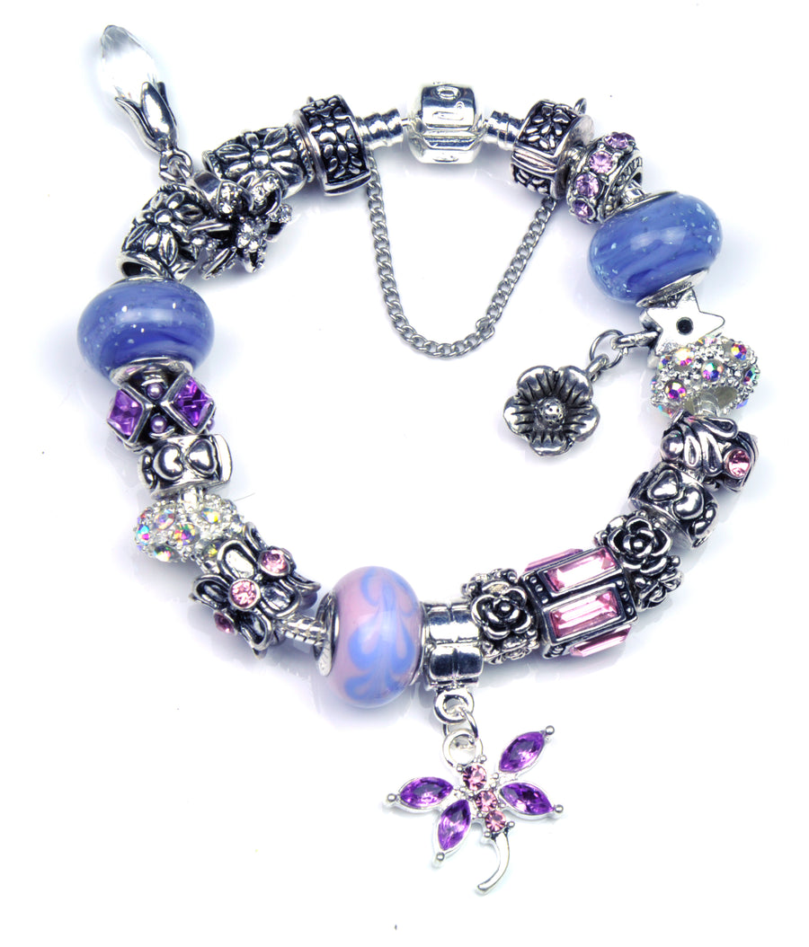 Pandora Style Bracelet with Sterling Silver Murano Glass Charms - Lilac Dragonfly