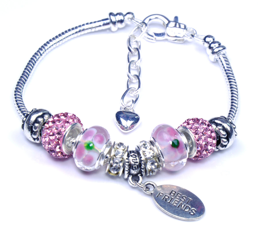 Pandora Style Sterling Silver Murano Glass Charms with European Style Bracelet - Best Friend