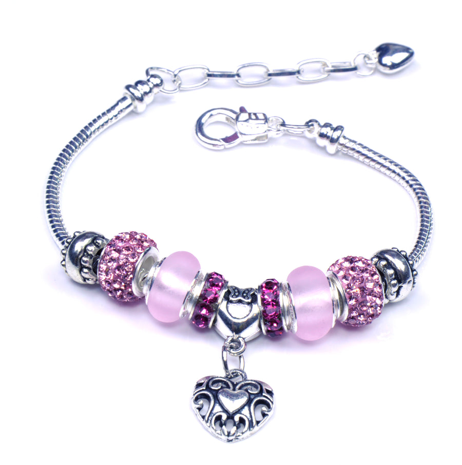 Pandora Style Sterling Silver Murano Glass Charms with European Style Bracelet - Pink Heart