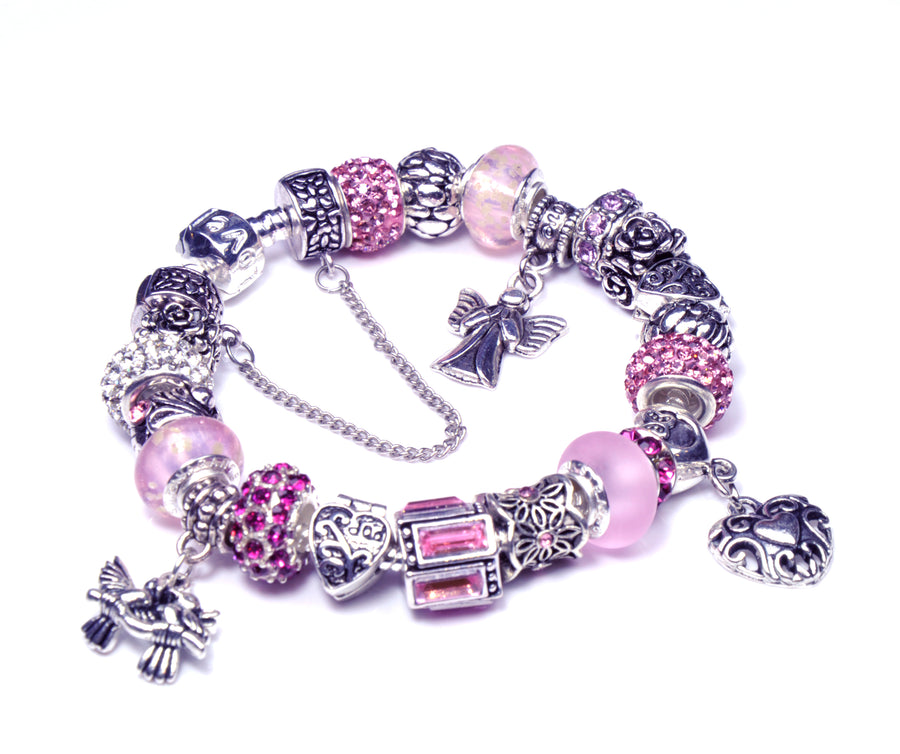 Pandora Style Bracelet with Sterling Silver Murano Glass Charms - MomLove