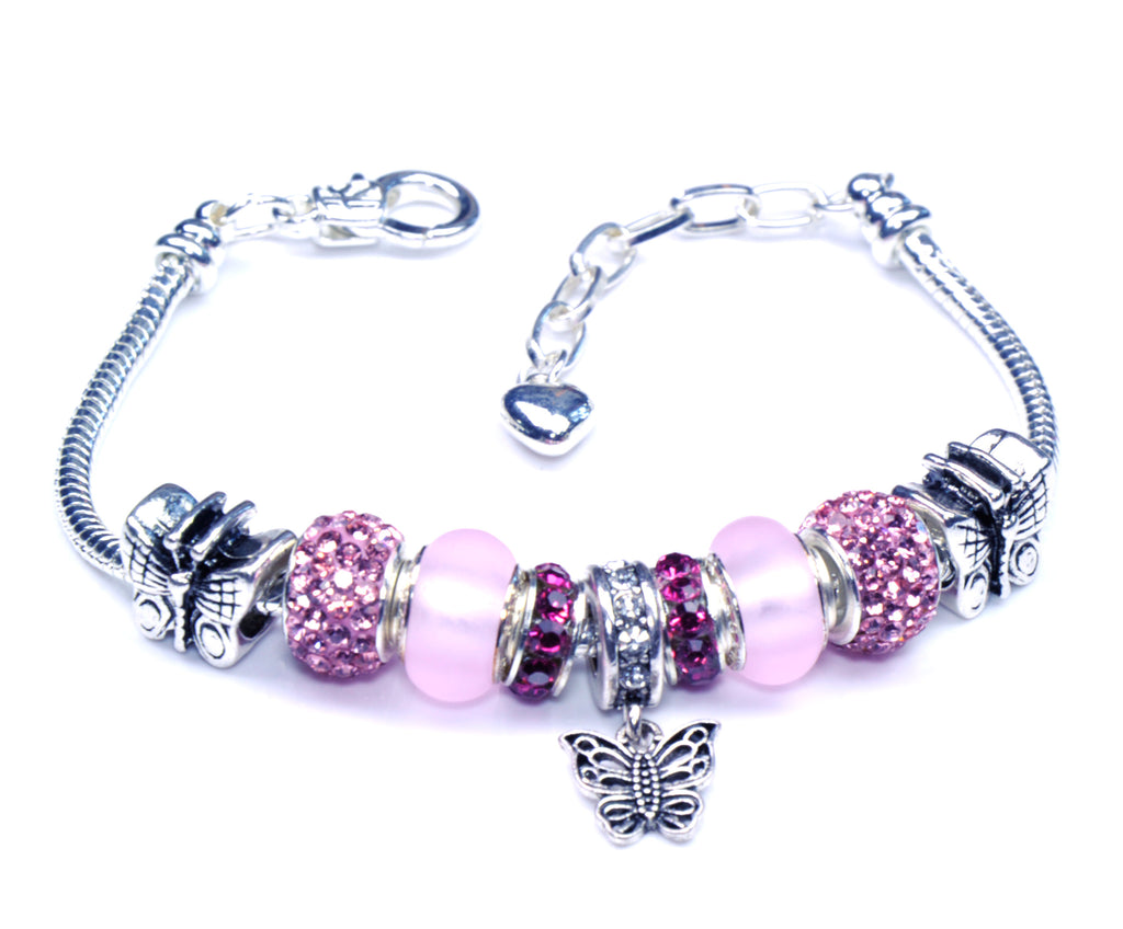 Italian Sterling Silver Murano Glass Charms with Bracelet (Pandora Style) - Pink Butterfly