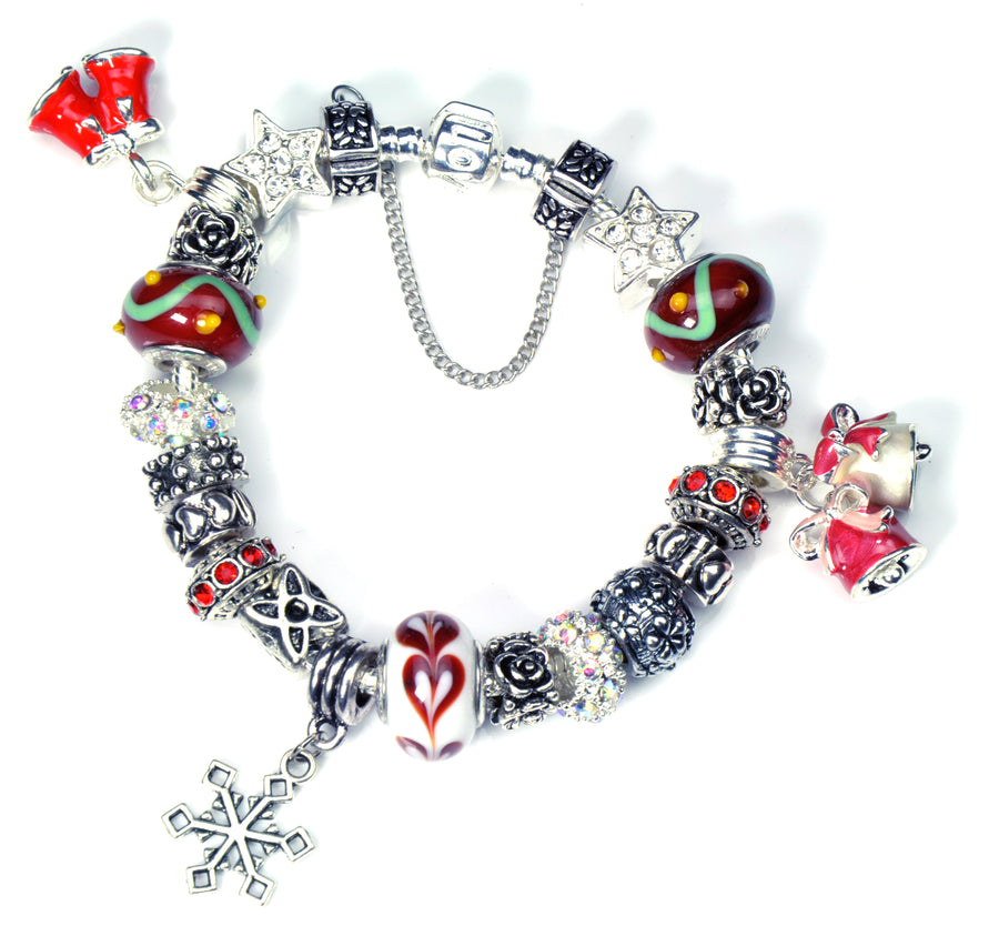 Pandora Style Bracelet with Sterling Silver Murano Glass Charms - Christmas Bells