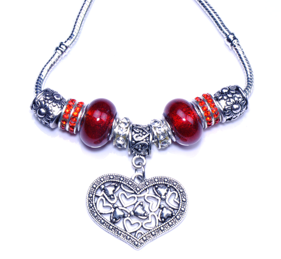 Pandora Style Necklace with Sterling Silver Murano Glass Charms - Red Heart