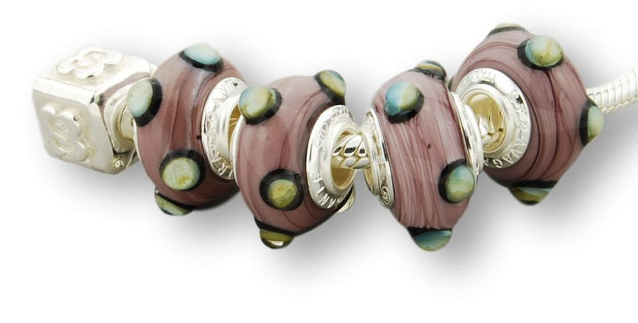 STERLING SILVER MURANO GLASS BEAD PURPLE