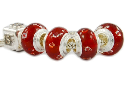 ZIRCONIA STERLING SILVER MURANO GLASS BEAD RED