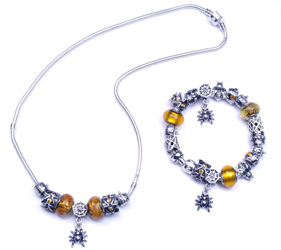 Pandora Style Murano Glass Jewelry Set - Yellow Spider