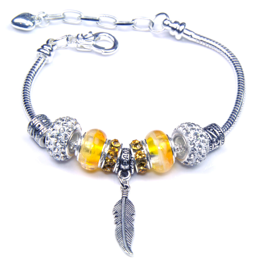 Pandora Style Sterling Silver Murano Glass Charms with European Style Bracelet - Wise Feather